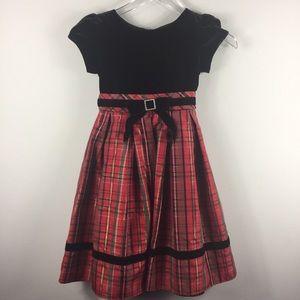 Sweet Heart Rose plaid and faux velvet dress.